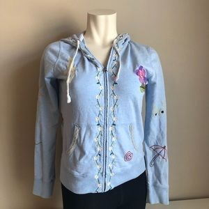 Lucky brand embroidered blue zip up hoodie sz.L